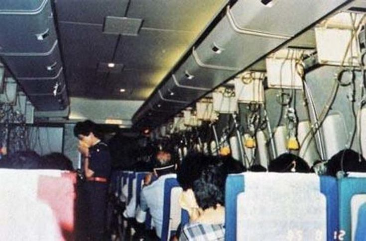 This picture recovered from the crash site of Japan Airlines Flight 123, shows the cabin before tragedy struck. A total of 509 people were killed. There were 4 survivors. There was an explosive decompression on board caused by a faulty repair performed seven years earlier. The plane crashed 32 minutes later. Eerie.. when you think that most of these poor people died not long after this photo was taken