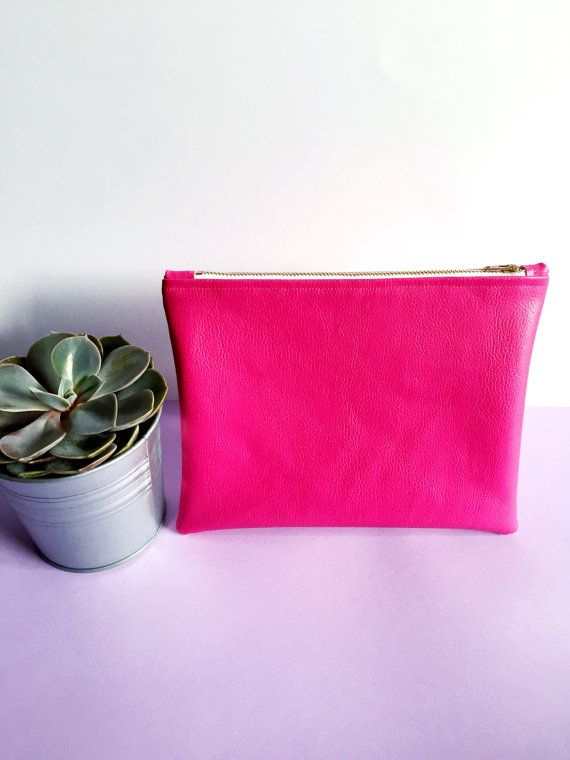 Pink Leatherette Printed Lined Pouch by FantasticCraftyFox on Etsy