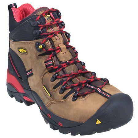 Keen Boots: Men's Steel Toe 1007024 Red Waterproof Pittsburgh Work Boots…