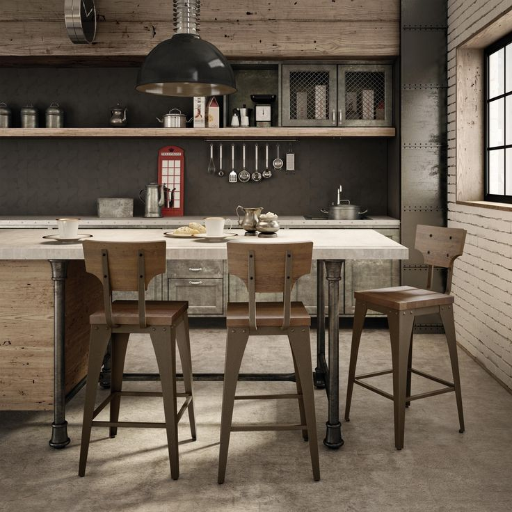 Amisco Station and Wood Counter Stool