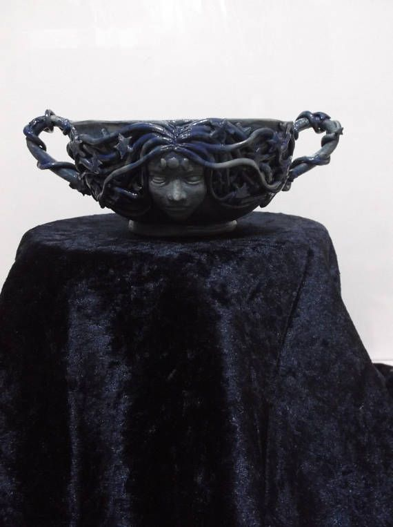 Handcrafted Ceramic Pagan Wicca Earth Mother Offering Bowl