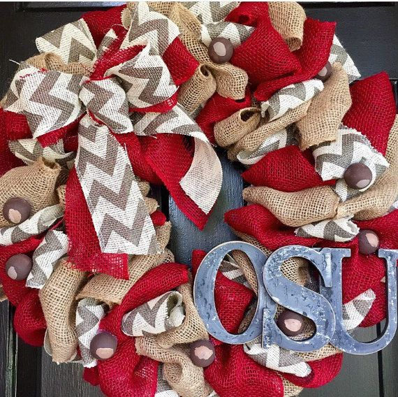 OSU Ohio State wreath with buckeyes by Trumpettes on Etsy