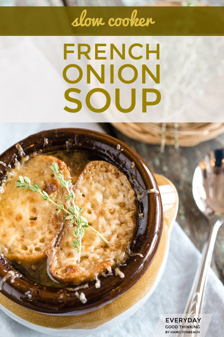 Caramelized onions and French Onion Soup in a slow cooker