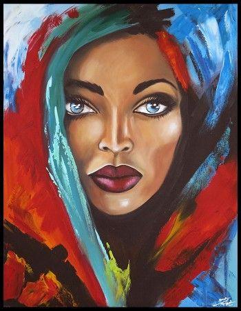 schilderij vrouw met blauwe ogen