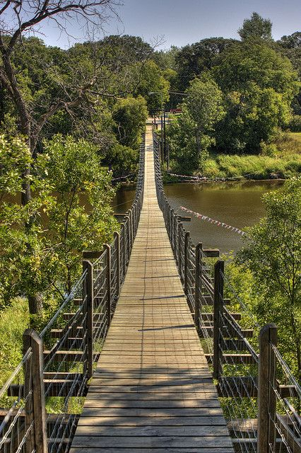 Souris Swinging Bridge - Canada's longest historical suspension bridge (measuring 582 feet or 177.4 meters)