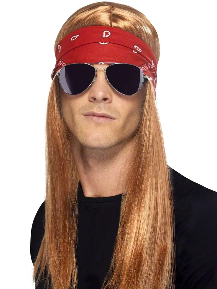 Our 90s Rocker Wig Kit features auburn synthetic hair in a long, straight style that falls from a center part with attached red bandana headband and aviator sunglasses. The glasses feature thin metal frames and dark tinted lenses. Inner mesh netting with elastic lining provides a comfortable fit for the wig. Our men's 90s Rocker Wig Kit is an ideal accessory set for creating your Bret Michaels, 80s rocker, rock star or Axl Rose costume. One size fits most teens and adults.