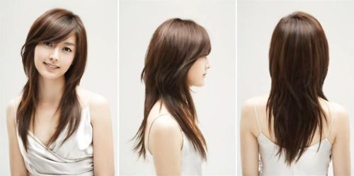 v shaped haircut with layers and bangs layered v cut with side bangs hair 2952