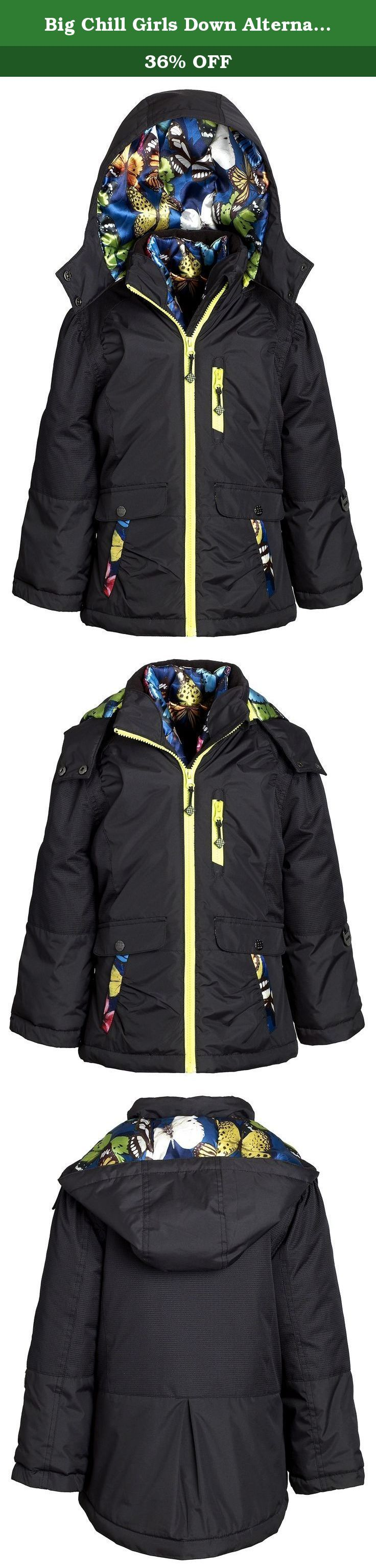 Big Chill Girls Down Alternative Winter 3-in-1 System Puffer Bubble Jacket Coat - Black (Size 7/8). This Big Chill system jacket ensures warmth and comfort on icy days. Its padded shell and fleece lined mock neck provide toastiness and superior protection. inner fleece cuffs for added insulation. Features a padded inner puffer vest and detachable hood. Available in sizes 4 to 16 and in colors beetroot, black, purple and charcoal.