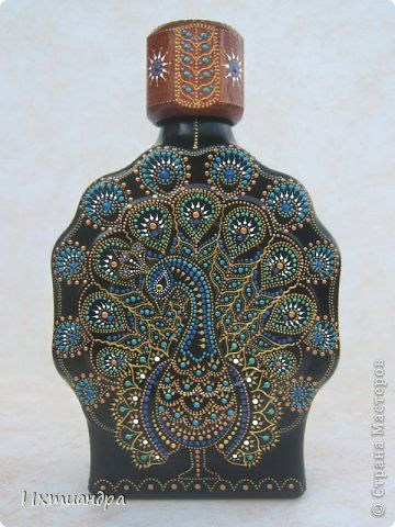 Peacock painting idea. Point-to-point Декор предметов Роспись: Расписной павлин Бутылки стеклянные, Краска. Фото 3