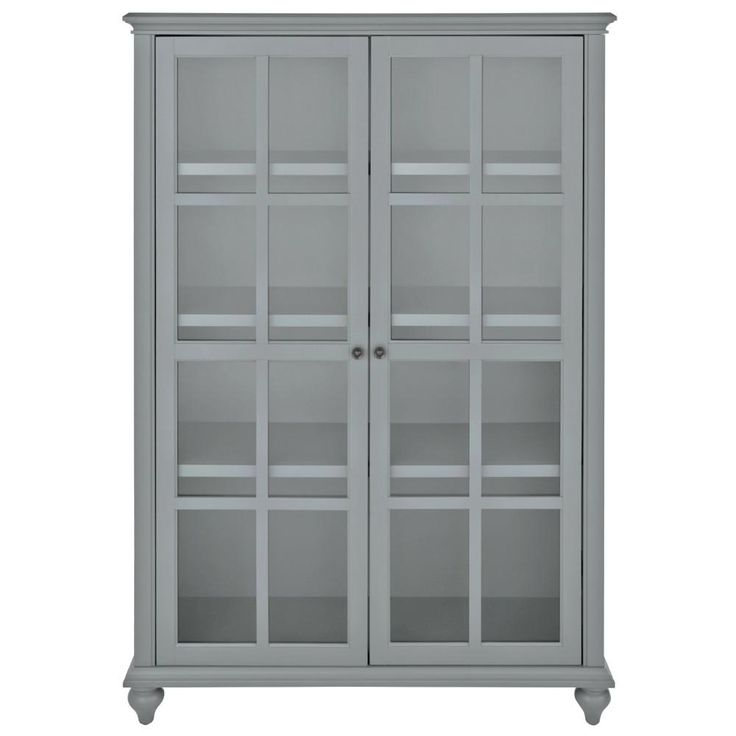 HOME DECORATORS COLLECTION Hamilton 60 In. H Grey Glass Door Bookcase 9787300270    The