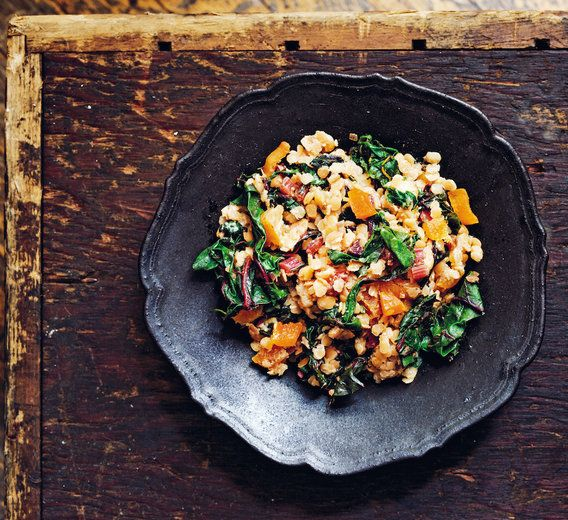Rainbow Chard With Lentils, Apricots + Green Curry // Swiss chard, shallots, lentils, yogurt, dried apricots, coconut oil, Thai green curry paste + sea salt