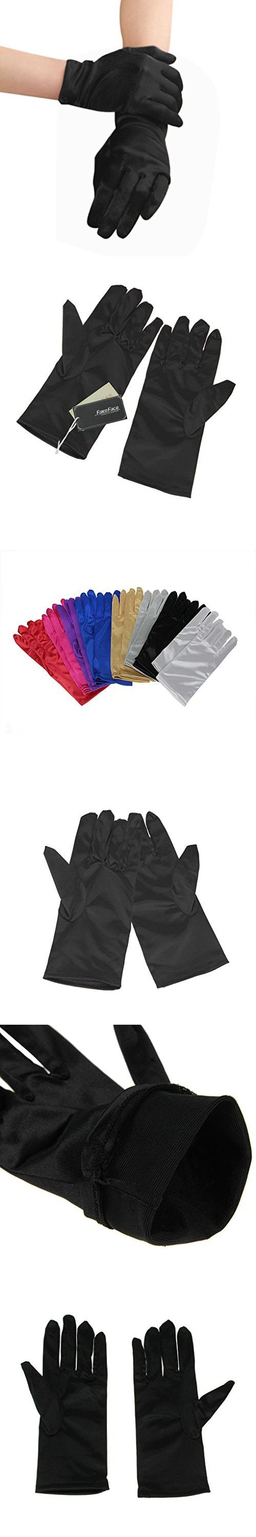 Ladies leather cycling gloves - Women Ladies Elegant Full Fingered Plain Satin Short Gloves Evening Prom Ball Wedding Outdoor Cycling