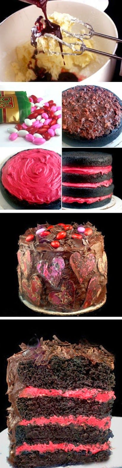 Rustic Chocolate Raspberry Almond Valentine Cake - not for me, but the idea of coloring the cake filling to match decoration!