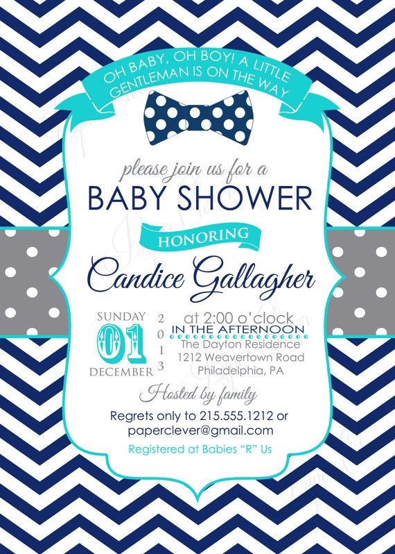 boys baby shower invitation retro bowtie gray navy by paperclever