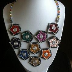 Collier ras de cou multicolore triple rang en capsules nespresso recyclées
