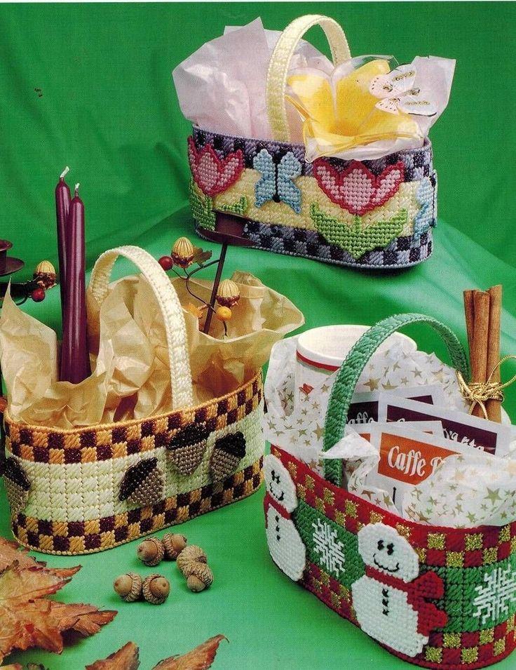 Holiday Baskets Spring Tulips Winter Snowman Fall Acorns Plastic Canvas Pattern | eBay