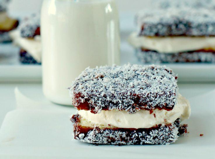 Lamingtons with White Chocolate Cream