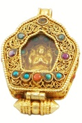Buddha Gold, Coral, and Turquoise Prayer Box Locket