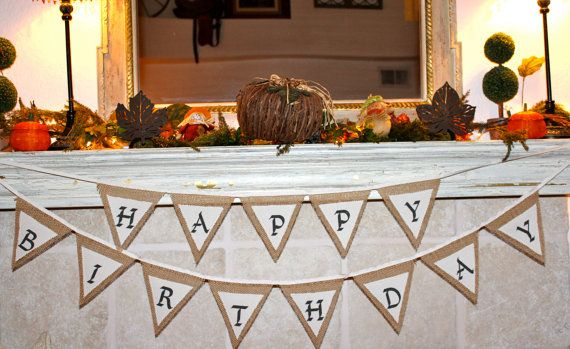 Happy Birthday Burlap and Muslin Fabric Banner by CheerfulEvents, $36.95