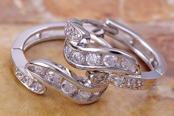9K white gold-filled hoop earrings with clear CZ, 16.5mm x 5mm (1)