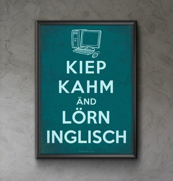 Kiep Kahm änd lörn Inglisch Digital Typography Poster