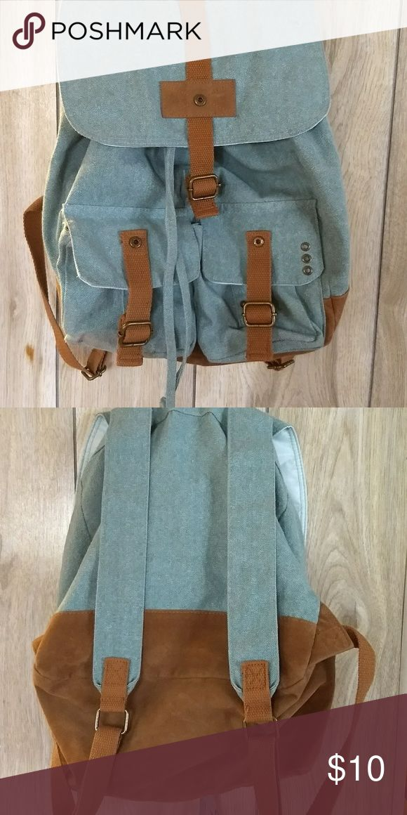 Target Mint Backpack Medium size backpack with snap and drawstring closure. Two from pockets with leather buckle design and snaps. Reinforced bottom. Great spring/summer diaper bag, beach bag, picnic bag. Target Bags Backpacks