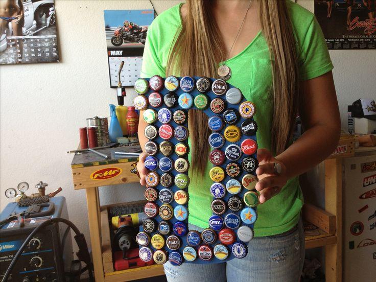 Beer bottle cap letter chad pinterest bottle beer for How to make beer bottle cap art