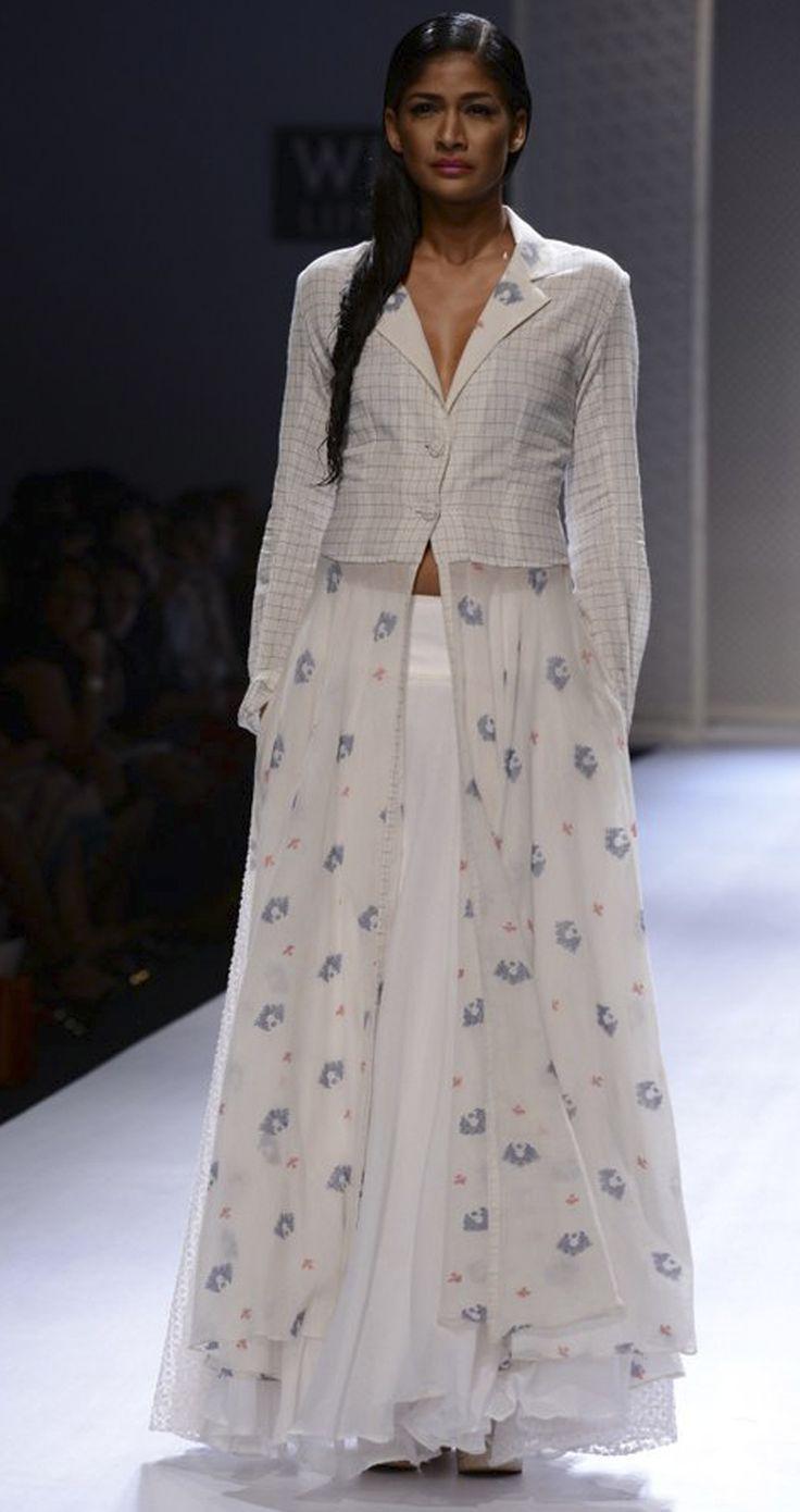 Ivory Handwoven long dress by RAHUL MISHRA. http://www.perniaspopupshop.com/wills-fashion-week/rahul-mishra #fashionweek #willslifestyleindiafashionweek