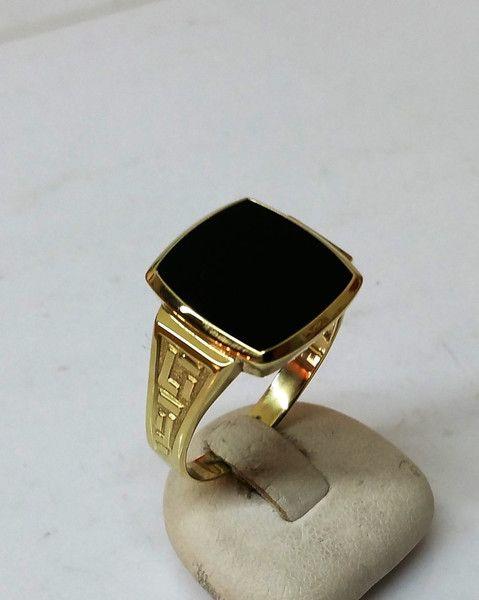 Vintage Ringe - Herrenring Gold 585 Lagenstein Onyx schwarz GR180 - ein…