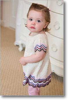 Chevron Emire Dress in cotton Classic Lite   Pattern at Interweave  24 st/4 inch #3 needles.