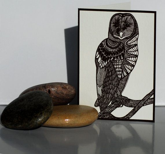 Tasmanian Masked Owl greeting card: Native to Australia, this art card is of the beautifully majestic bird in intricate pen and ink on Etsy, $5.00 AUD