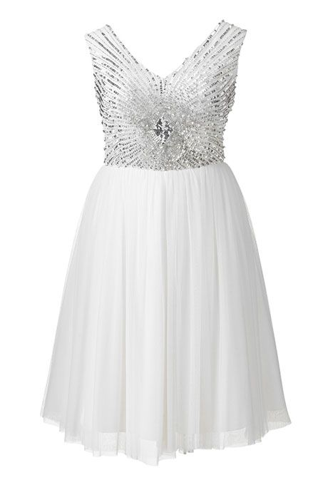 Brides.com: 21 Stylish, Short Plus-Size Wedding Dresses Short embellished dress, $185, Simply BePhoto: Courtesy of Simply Be