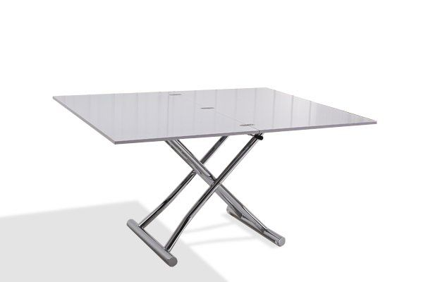 399e Table basse relevable extensible HIGH and LOW blanc brillant. Petite taille compacte.