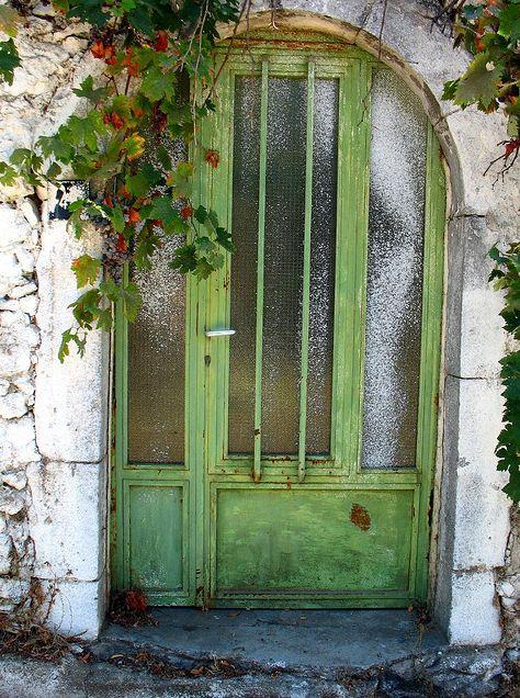 Crete. Greece.: The Doors, Green Doors, Secret Gardens, Green Garden, Green Architecture, Front Doors, Gardens Doors, Crete Greece, Old Doors