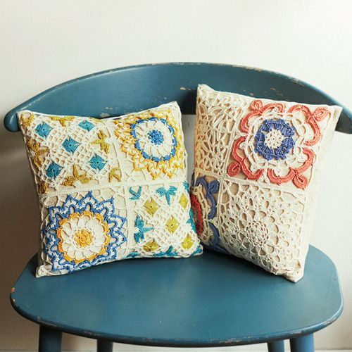 Colorful crochet lace pillows - inspiration