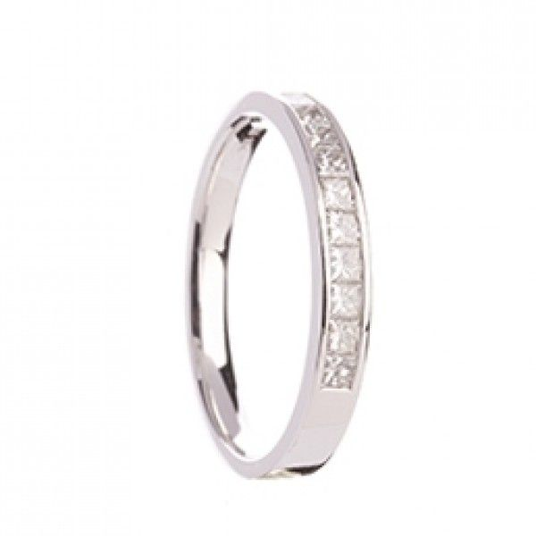 Beautiful Flat Profile Wedding Band Set With 10 Princess Cut Diamonds And Available In A