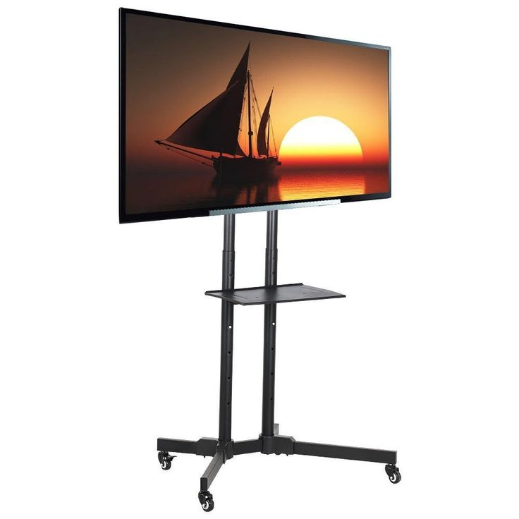 """Topeakmart Mobile TV Cart Stand with Mount for LED LCD Plasma Flat Panels TV on Wheels Fits 32 to 65 Inch. Mobile TV stand with 4 rolling wheels. Suitable for TV, LED, LCD and other screen displays from 32"""" to 65"""". VESA Patterns range from 200mm x 200mm to 600mm x 400mm fit most TV. Weight capacity up to 110 pounds on the stable wide base. Component shelf for holding DVD player, cable box, Xbox, etc."""