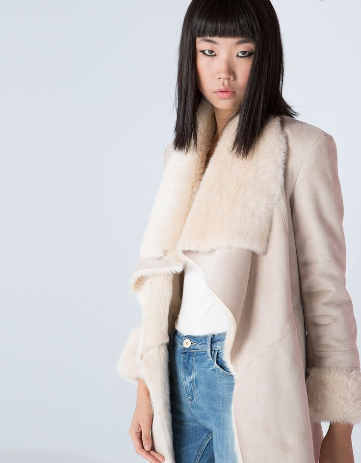 Bershka United Kingdom -Bershka fur-lined V-neck coat