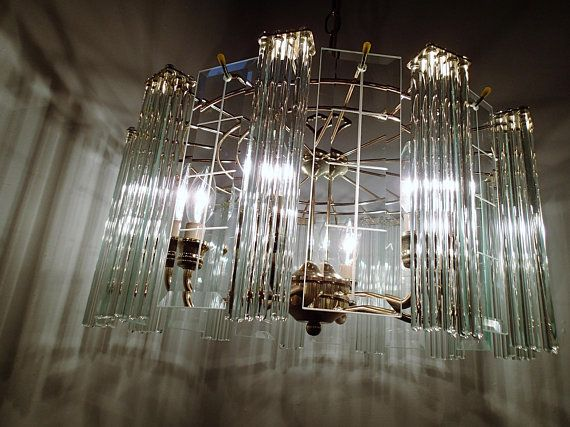 Mid Century Glass Rod And Beveled Glass Panel Chandelier Mid