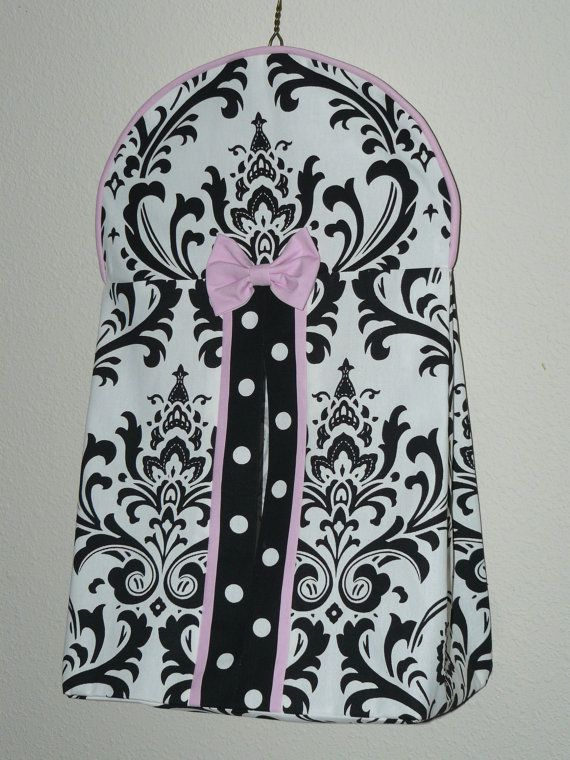 Diaper Stacker Black and White  Damask  by CustomBabyCreations