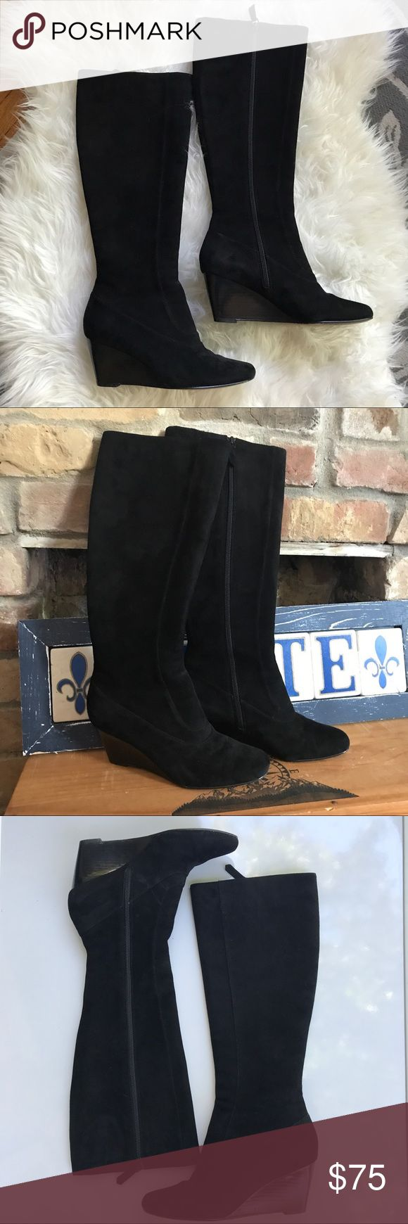 Cole Haan Black Suede Knee-high Wedge Boots 6 Luxurious knee-high suede boots. Softest suede! Very good pre-owned condition. Wear to the soles from walking but the upper and interior of the boot are very clean! Beautiful, high-quality boots with Nike air technology for comfort. 2.75 inch heel. Size 6. Cole Haan Shoes