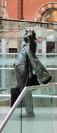 Statue of Sir John Betjeman at St Pancras International, a station that might have been knocked down had it not been for his efforts