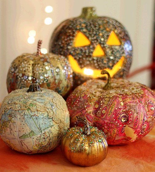 Dishfunctional Designs: Beautiful Painted & Decoupaged Pumpkins