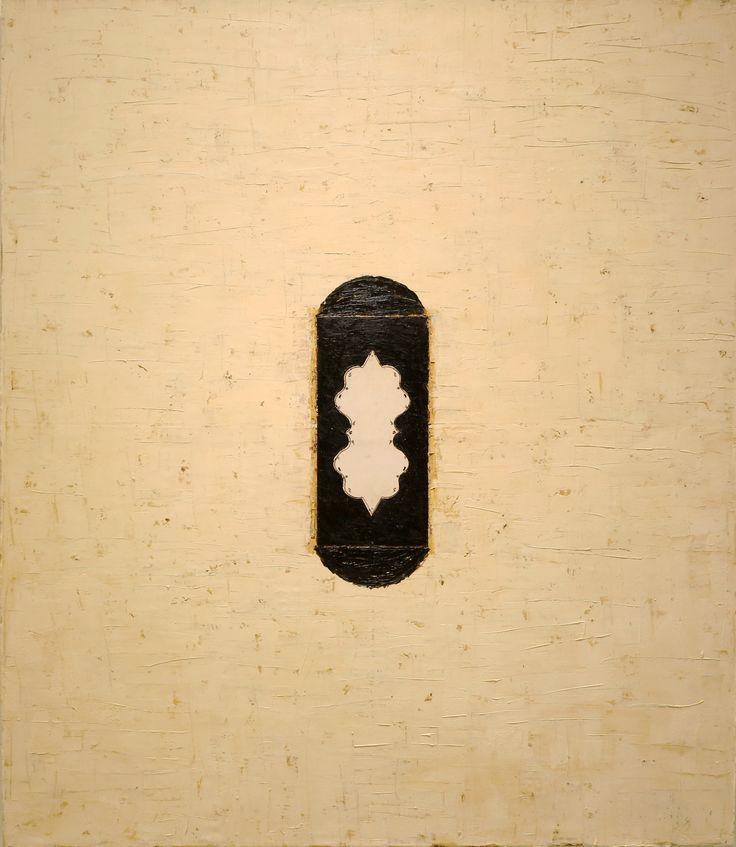 Mulasics László: Cím nélkül / Untitled, 1994, 140 x 120 cm, olaj, viasz, fotoprint, lakk, vászon / oil, wax, fotoprint, varnish, canvas