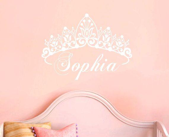 Baby Girl Crown Wall Decal Princess Name Nursery Vinyl Wall Sticker on Etsy, $35.00