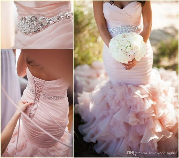 2015 Blush Pink Sweetheart Mermaid Wedding Dresses With Organza Sweep Train Lace Up Plus Size Cascading Ruffle Church Bridal Gowns Simple Wedding Gown Unique Wedding Gowns From Lovely518, $140.71| Dhgate.Com