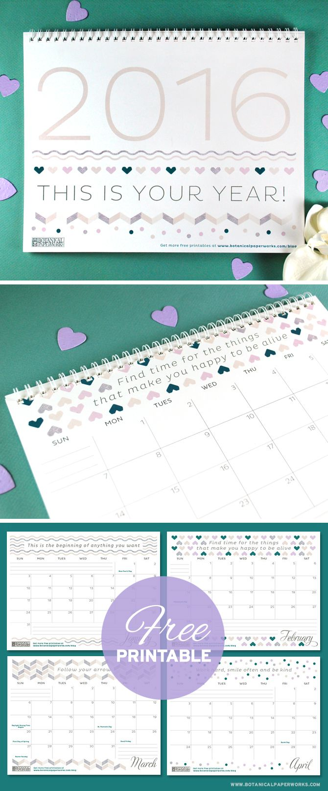 Free printable calendar for year 2016, there are three different designs, even black and white