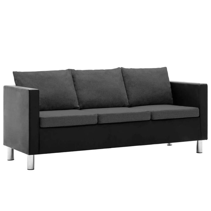 Canape A 3 Places Simili Cuir Noir Et Gris Fonce Sofa Outdoor Sofa Outdoor Furniture