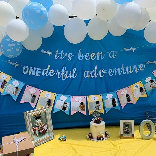 It S Been A Onederful Adventure With 12 Month Garland Etsy Birthday Themes For Boys Boys First Birthday Party Ideas Baby Boy 1st Birthday Party