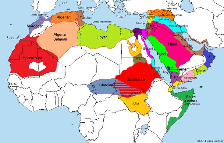Map Of Arabic Dialects.